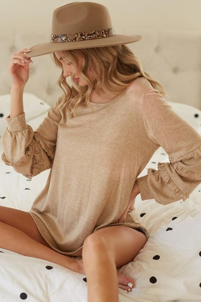 Knit Top with Bubble Sleeves with Ruffles