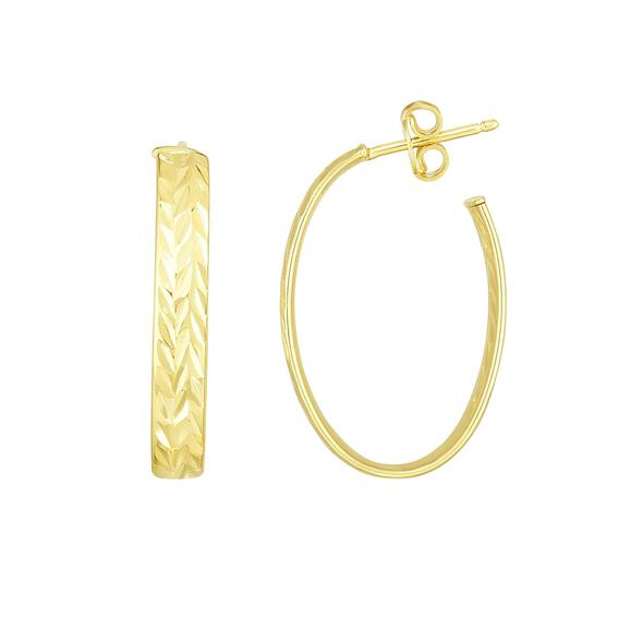 14K Yellow Gold 27x18mm Diamond-Cut Post Earrings with Push Back Clasp