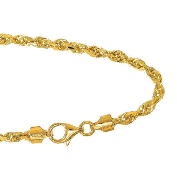 """14k Solid Gold Yellow Or White 2.9mm Diamond-cut Rope Bracelet, Lobster Claw Clasp - 7"""" 8"""""""