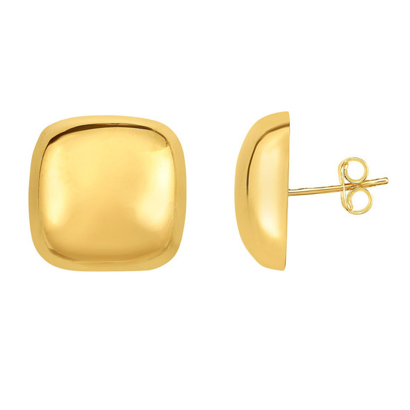 14k High Polished Yellow Gold 16x16mm Domed Square Shape Post Earrings