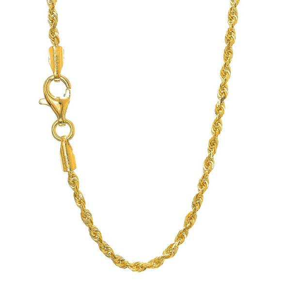 """14k Solid Yellow Gold 2.2mm Diamond-Cut Rope Chain 16"""""""