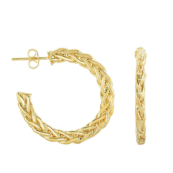 14K Yellow Gold 2X5X30mm Braided Flat Round Hoop Style Earrings, Push Back Clasp