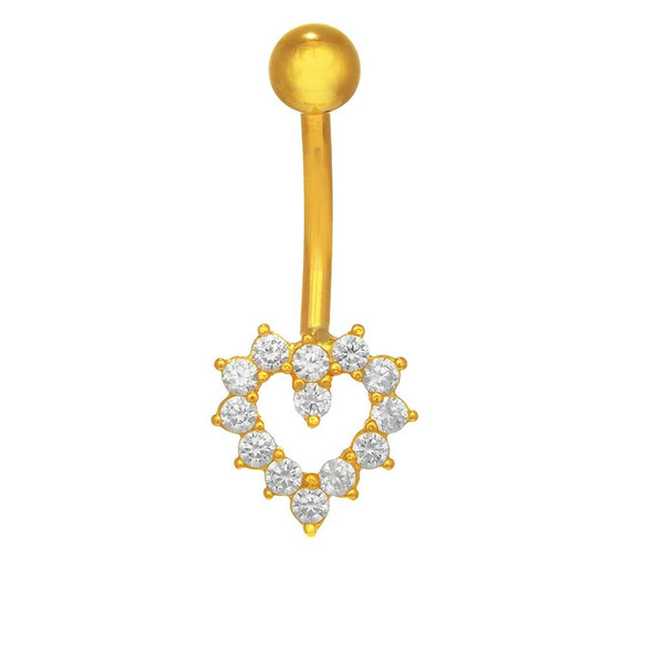 14k Real Yellow Gold Belly Button Open Heart CZ Navel Ring Body Jewelry