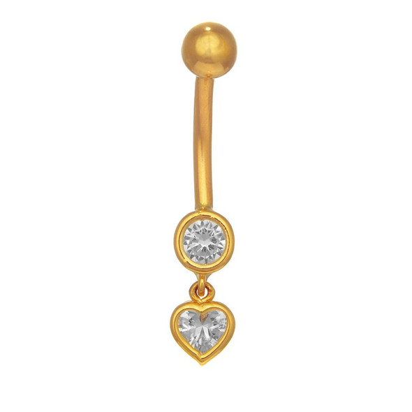 14k White Or Yellow Gold Dangle Heart Bezel CZ Belly Navel Ring Body Jewelry