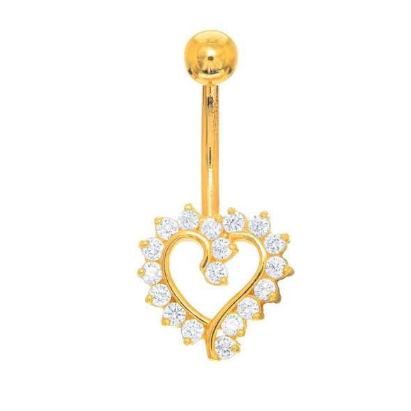 14k Solid Gold Yellow Belly Open Heart CZ Navel Ring Body Jewelry