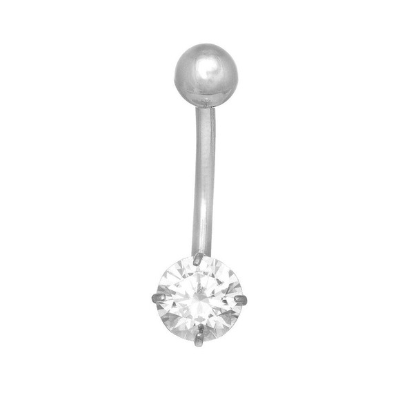 14k Real White Or Yellow Gold Belly Button Round CZ Navel Ring Body Jewelry