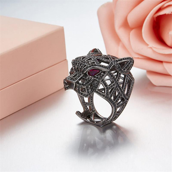 Europe and America S925 Pure Silver Micro Set Leopard Ring Fashionable Personality