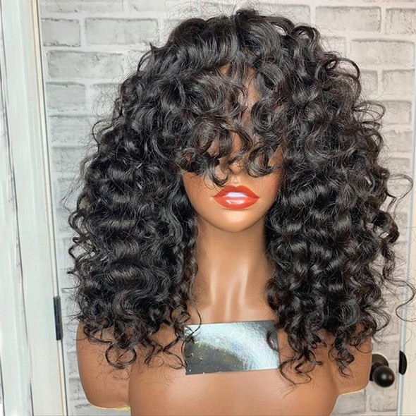 Natural Bouncy Curly Human Hair Lace Front Wigs with Bangs Full Lace Peruvian Remy Human Hair Silk Base Lace Wigs