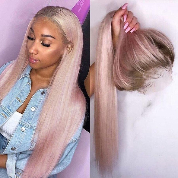 Ombre Pink Lace Front Human Hair Wigs with Baby Hair Silky Straight PrePlucked Natural Hair