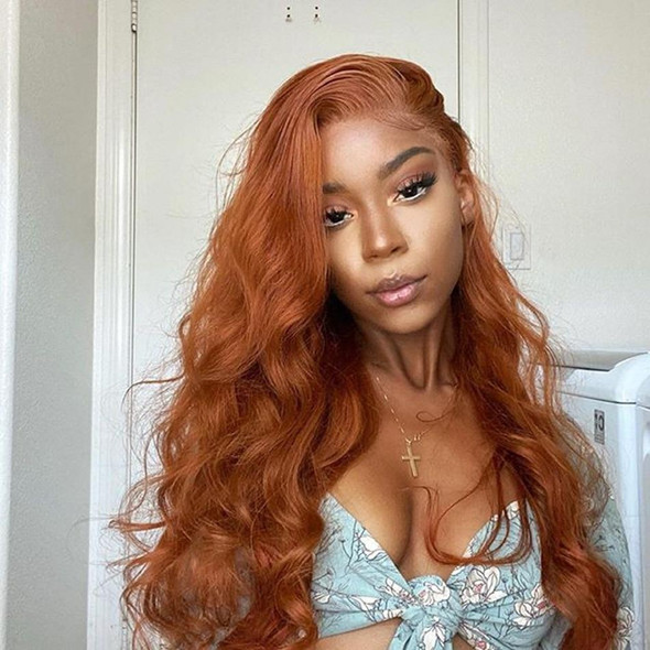 Full Lace Ginger Wavy Malaysia Human Hair Wigs Preplucked Lace Front Wavy Blonde Wig