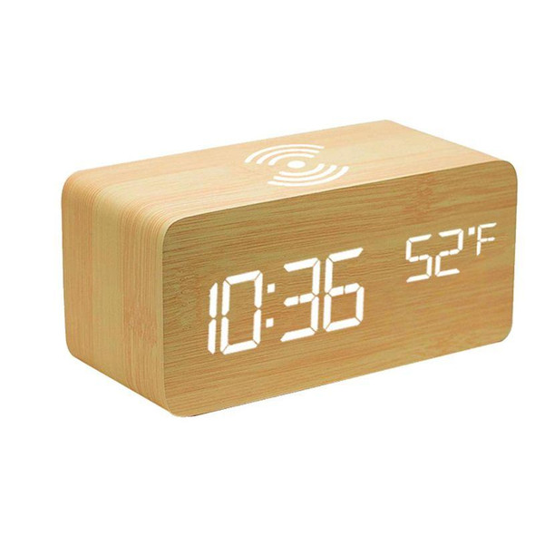 Bamboo Digital LED Alarm Clock  Thermometer & Wireless Charger