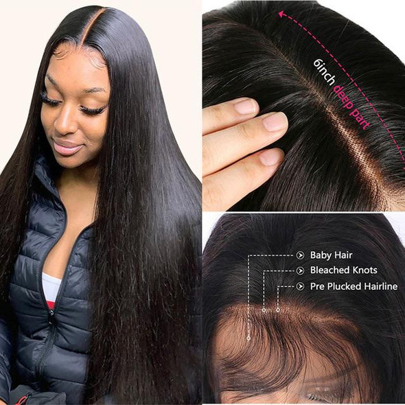 Long Straight Lace Front Natural Black Wig