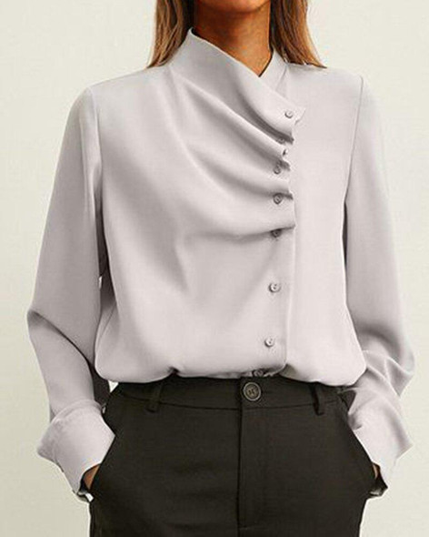 Fashion Solid Buttons Elegant Woman Blouse Shirts Top