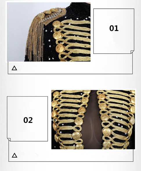 Military Black & Gold Sequins Bodysuit With Gold Tassels Mesh Sexy Dance Costume