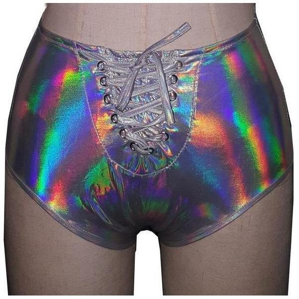 Holographic Crop Top & High Waist Short Set Festival Clothing Sexy Dance Costume