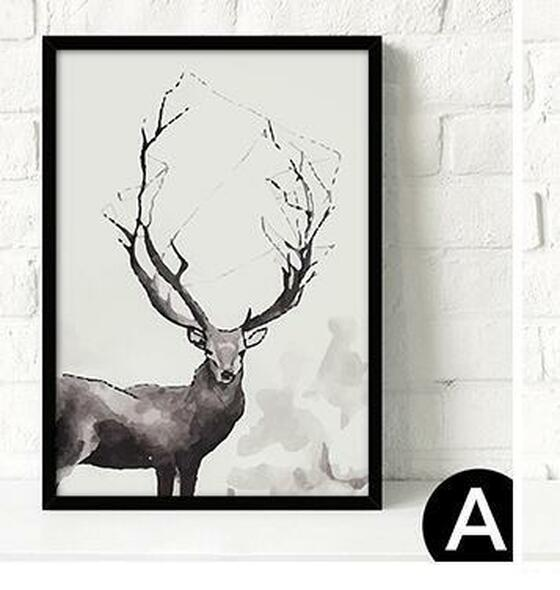 Nordic Decorative Painting Modern Minimalist Black white Trend Personality Fresh Deer Letter Geometry Leaves No Framed QY004