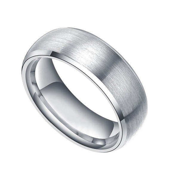 8mm Brushed Domed with Polished Inner Band Silver-Plated Titanium Fashion Wedding Band