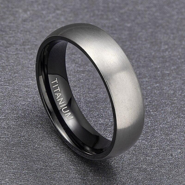 Matte Finished Silver and Black Plated Titanium Classic Wedding Band