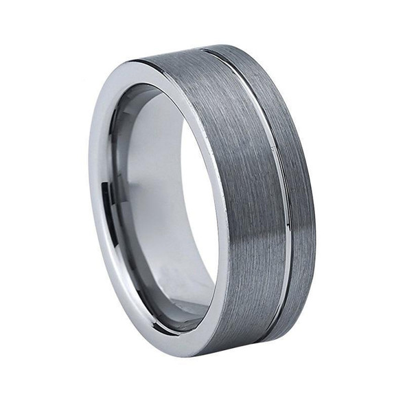 8mm Asymmetrical Groove Brushed Matte Silver Wedding Ring