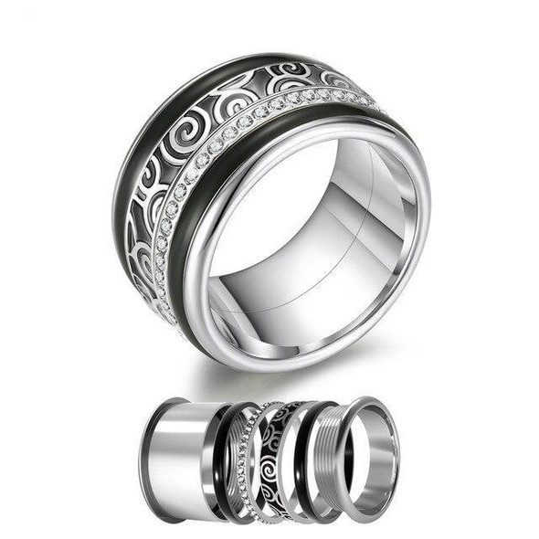 Women Stainless Steel, Aluminum Stackable, Rotatable, and Interchangeable Wedding Ring