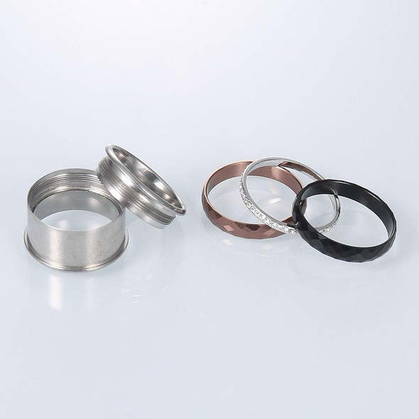 Cubic Zirconia Stainless Steel, Aluminum, and Stackable, Rotatable, and Interchangeable Wedding Ring