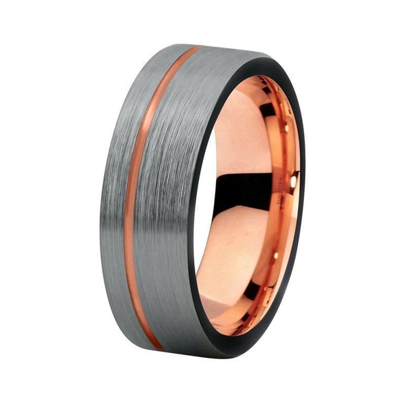 8mm Brushed Matte Silver with Rose Gold Groove Tungsten Carbide Ring