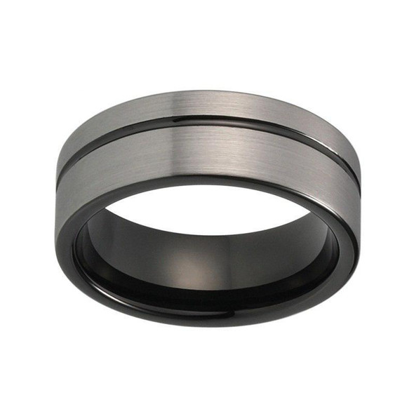 8mm Brushed Matte Grey with Black Groove Tungsten Carbide Ring