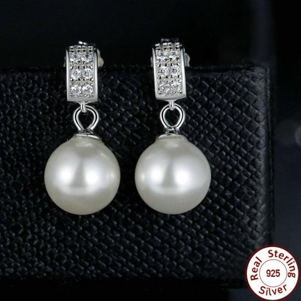 Pearl and Cubic Zirconia 925 Sterling Silver Drop Earrings