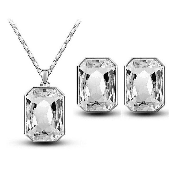 Square Crystal Necklace & Earrings Fashion Jewelry Set