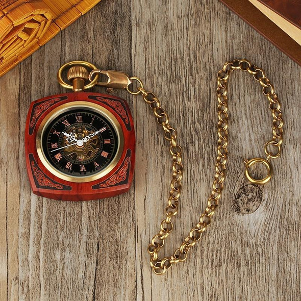 Open Face Pocket Watch in a Square Wooden Frame