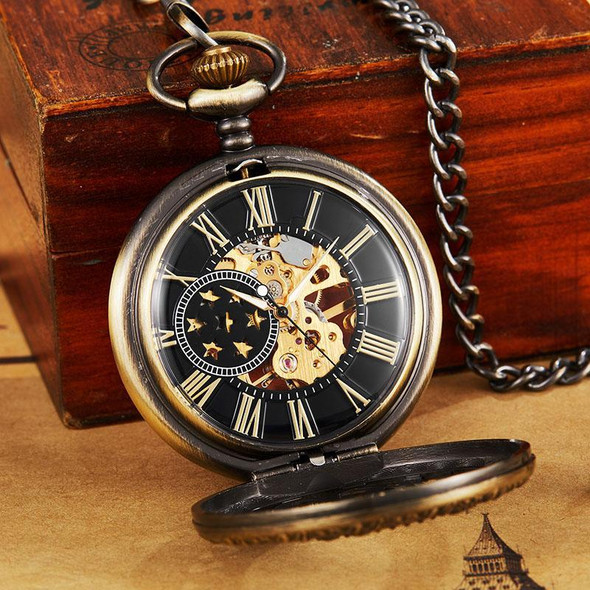 7 Stars Roman Numbers Baroque Style Vintage Pocket Watch