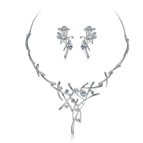 Viennois Necklace and Earrings Jewelry Set for Women Elegant Cross Design Jewelry Set for Party Fashion Jewelry Set