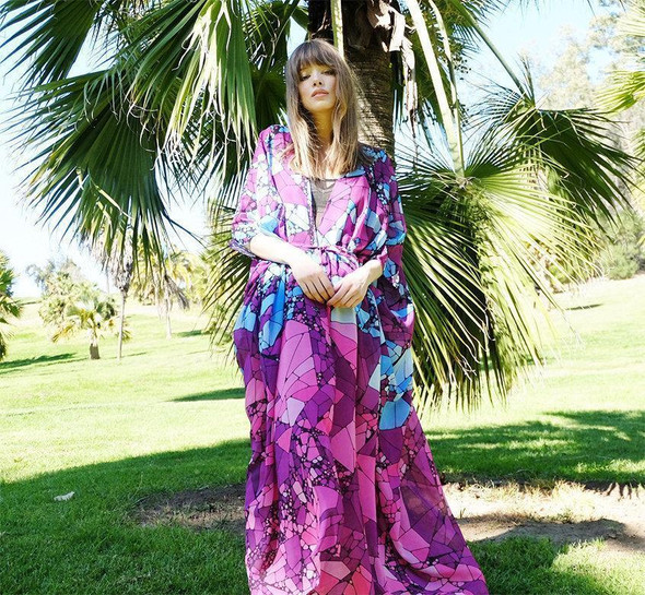 Floral Purple Chiffon Batwing Sleeve Beach Kimono With Belt Cover-up