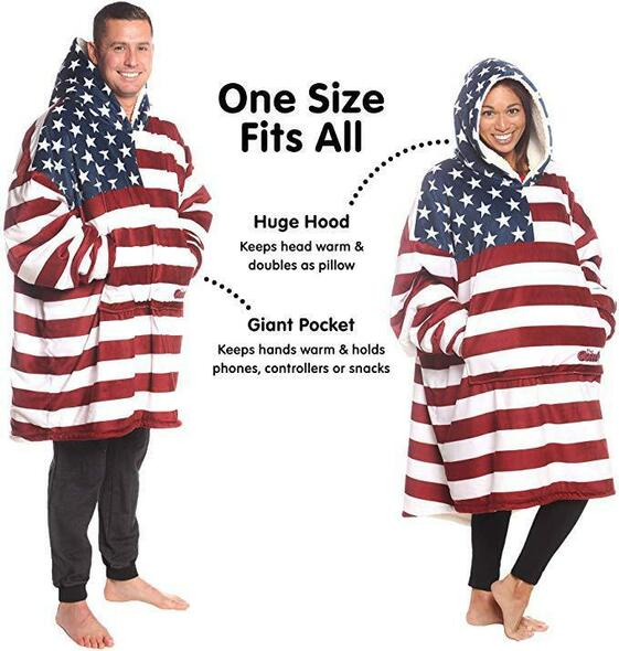 USA Soft Warm Comfy Winter Outdoor Huge Fuzzy Hooded Blankets With Sleeves