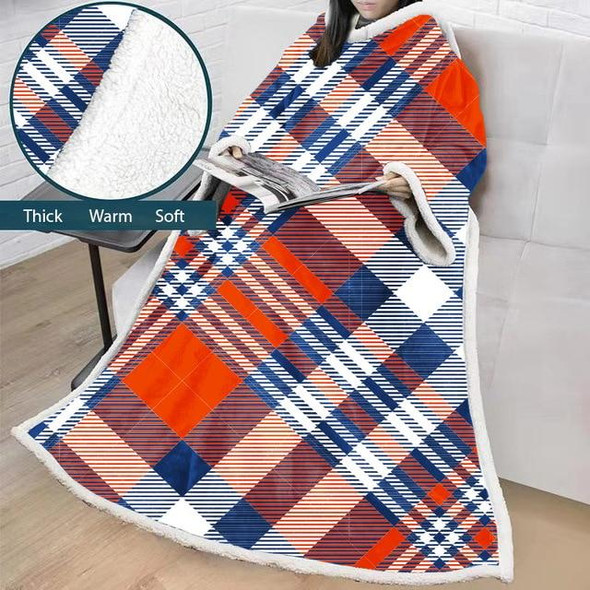 Plaid Warm Fluffy Huge Winter Thick Comfy TV Hoodie Blanket with Sleeves