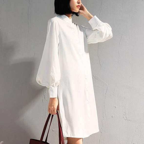 Casual Long Sleeve Stand Collar Blouse Slim Single Breasted Lantern