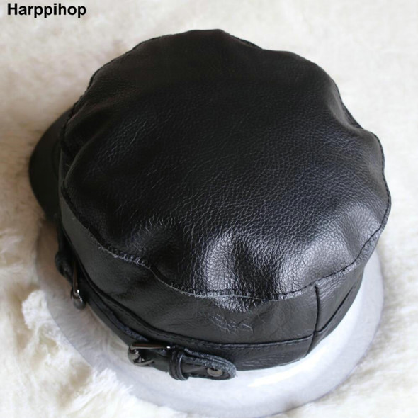 high quality men's real sheep skin leather adult solid army hats