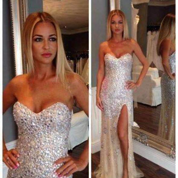 Long Sparkly Sweetheart Strapless Mermaid Charming Slip Side Evening Party Prom Dresses,PD0098