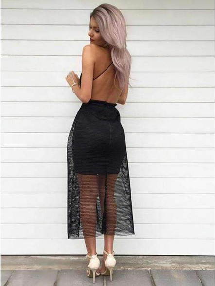 Black Tulle Sheath Backless Sexy See Through Prom Dresses,PD00115