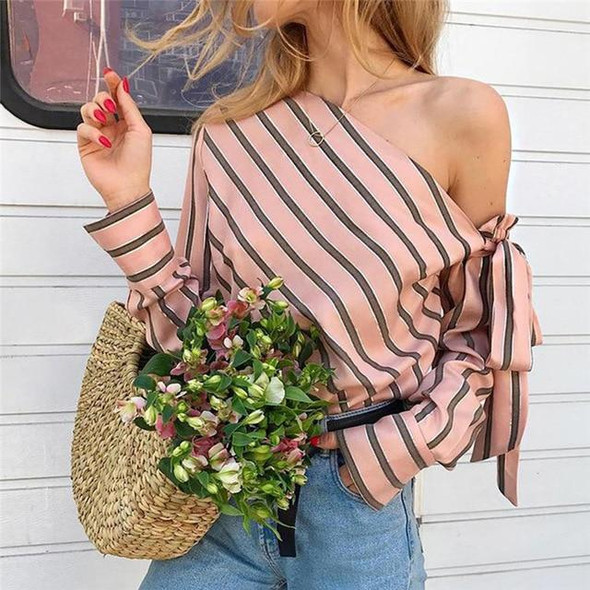 VenusFox Striped Loose Off Shoulder Lace Blouse