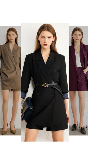 Minimalism Autumn Causal Women Set Solid Lapel Double Breasted Office Coat High Waist Loose Shorts Suit