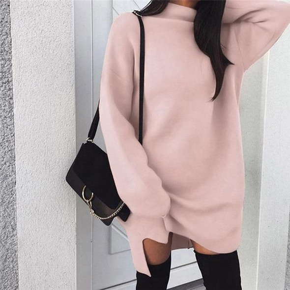 Pullover Loose Midi Dress Winter Sweater Women Turtleneck Long Sleeve Jumper Dresses Solid Knitted Sweaters
