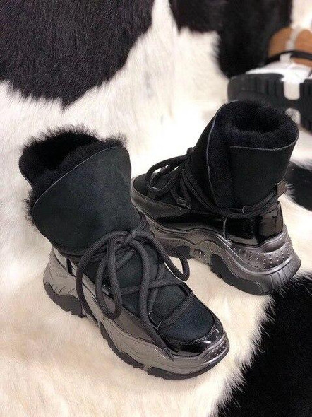 Women Genuine Leather Snow Boots Winter