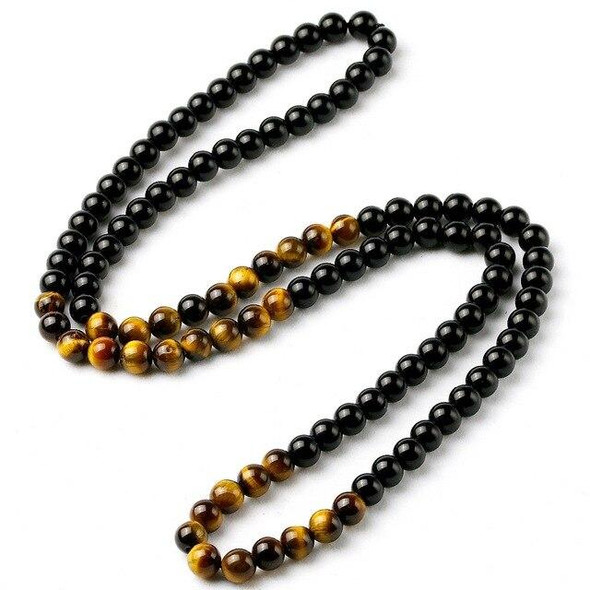 Black Onyxs Men's Tiger Eye Stone Bead Necklace Fashion Natural Stone Obsidian Necklaces Women New Design Handmade Jewelry Gift