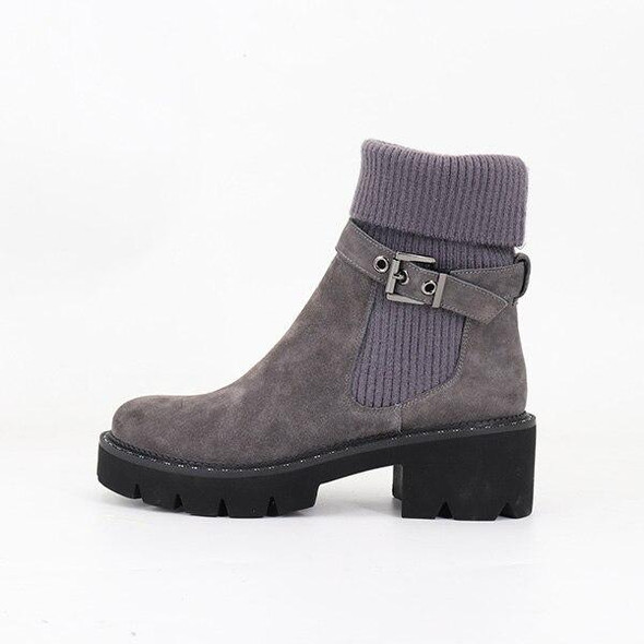 BESCONE Fashion Women Boots Basic Solid Buckle Handmade Square Heel Shoes Casual Winter Round Toe Comfortable Ladies Boots BC241
