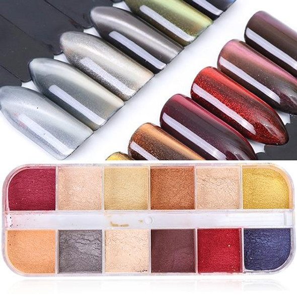 Full Beauty 12 Grids/Sets Nail Glitter Sequin Mixed Mirror