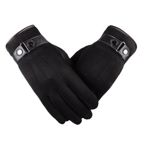 Winter Men's Classy Suede Touch Screen Windproof Gloves