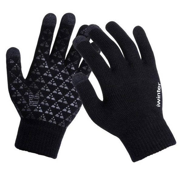 Knitted Wool Touchscreen Texting Functional Gloves - Black