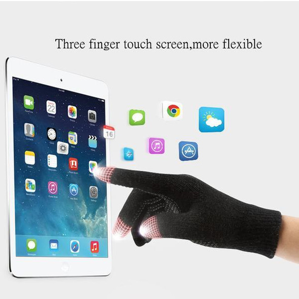Knitted Wool Touch Screen Texting Functional Gloves - Black