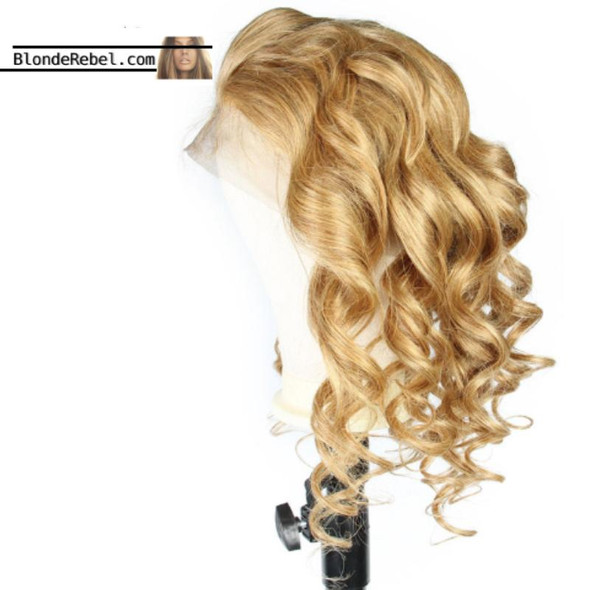 """Wavy Dame (Body Wave Honey Blonde, 13x6 Lace Front 100% Remy Human Hair Wig, 8""""-24"""", Choose Density)"""